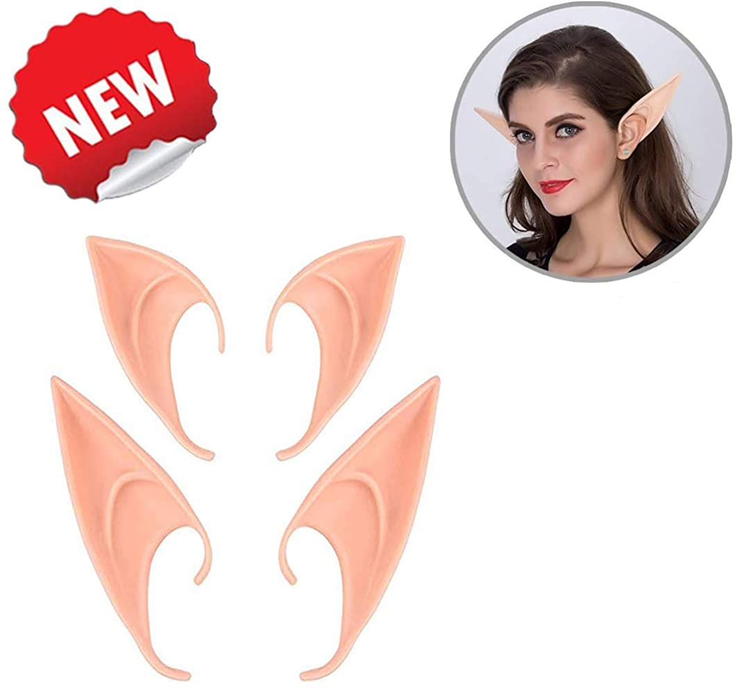 JRong 2 Pairs Fairy Pixie Ears Cosplay Accessories Halloween Party Vampire Monster Elven Ears