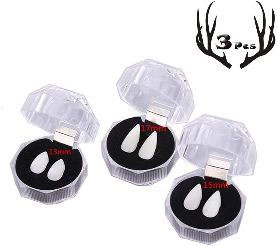 Rich Boxer 3 Pairs Vampire Teeth Dentures Fangs Horror False Teeth Cosplay Props Halloween Party Costume Props Party(13mm, 15mm, 17mm)