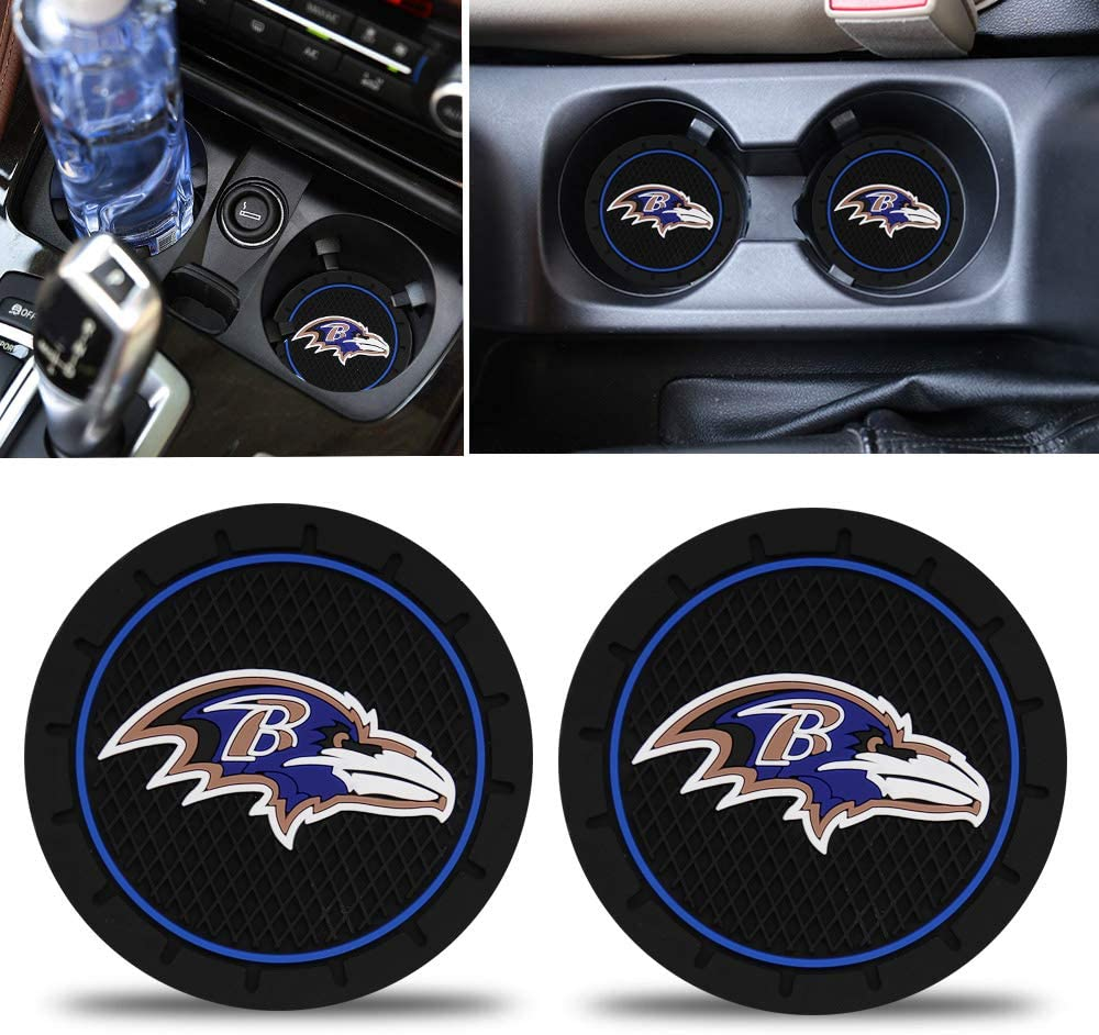 Fast & Furious 2PCS Baltimore Ravens Car Cup Holder Coaster, 2.8 Inch Car Interior Accessories Durable Non Slip Silicone Logo Cup Mat for Baltimore Ravens Suitable for All Vehicles