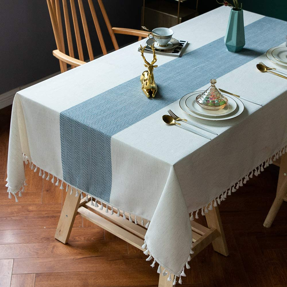TEWENE Table Cloth, Cotton Linen Tablecloths Wrinkle Free Tablecloth Rectangle Table Cloths Tassle Table Clothes for Rectangle Tables, Kitchen, Dining, Outdoor Table(55''x86''/6-8 Seats/Blue)