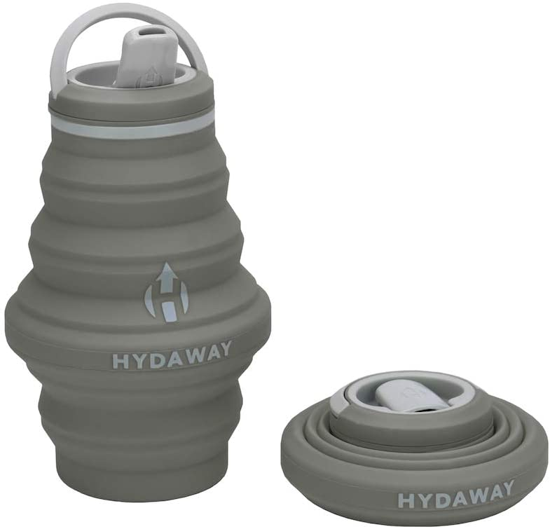 HYDAWAY Collapsible Water Bottle, 17 oz Spout Lid | Ultra-Packable, Travel-Friendly, Food-Grade Silicone (Thunder)