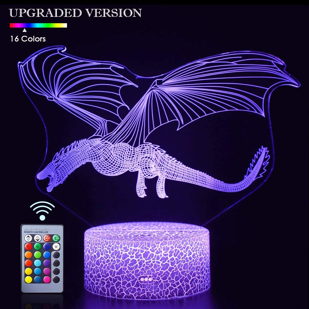 Seven Lady Dragon 3D Illusion Night Light with Remote Control and 16 Colors Changing Best Gifts for Boys on Birthday Graduation and Festival(Dinosaur Fly-2)