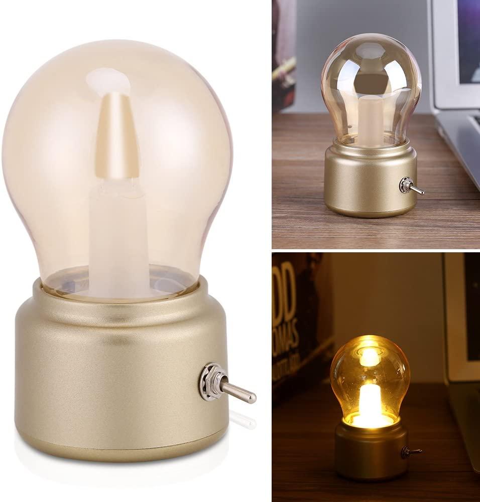 Retro LED Night Light, Edison Bulb Bedside lamp, Creative Vintage USB Rechargeable Bedside Desk Bulb Lamp(gold)