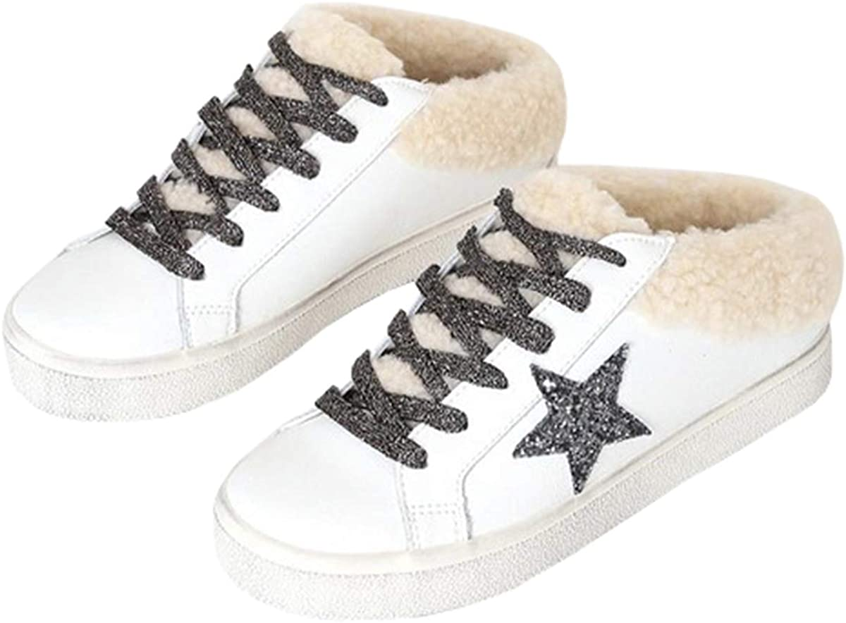 Nailyhome Womens Lace Up Star Sneaker Fleece Low Top Platform Fashion Skate Shoes