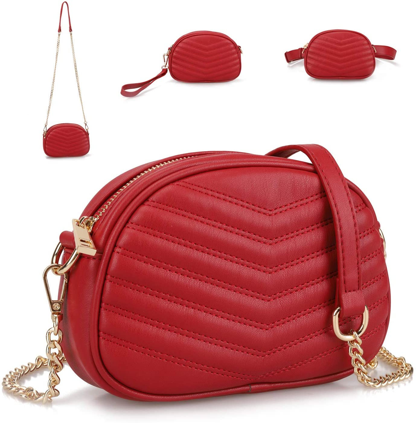 GLADDON 3 in 1 Fashion Fanny Packs for Women Red Waist Bag Stylish Crossbody Purse Ladies Clutch Baguette Bag with Shoulder Strap Versatile Belt Bag Small