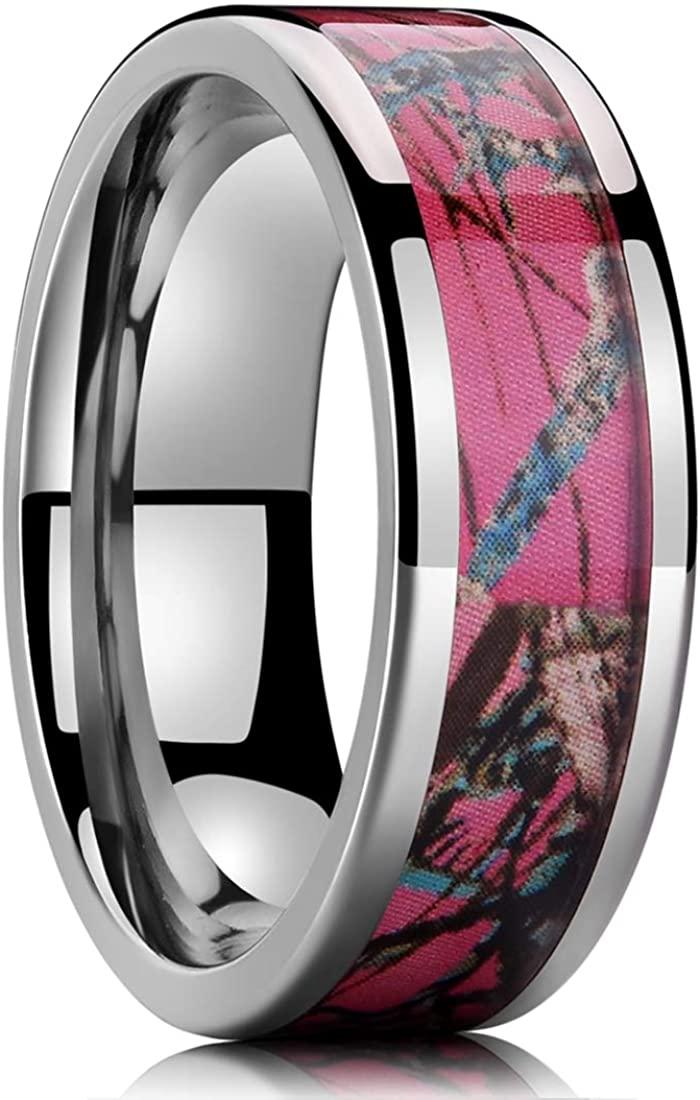 NaNa Chic Jewelry 6mm Silver Titanium Ring Inlaid with Pink Camo Sticker