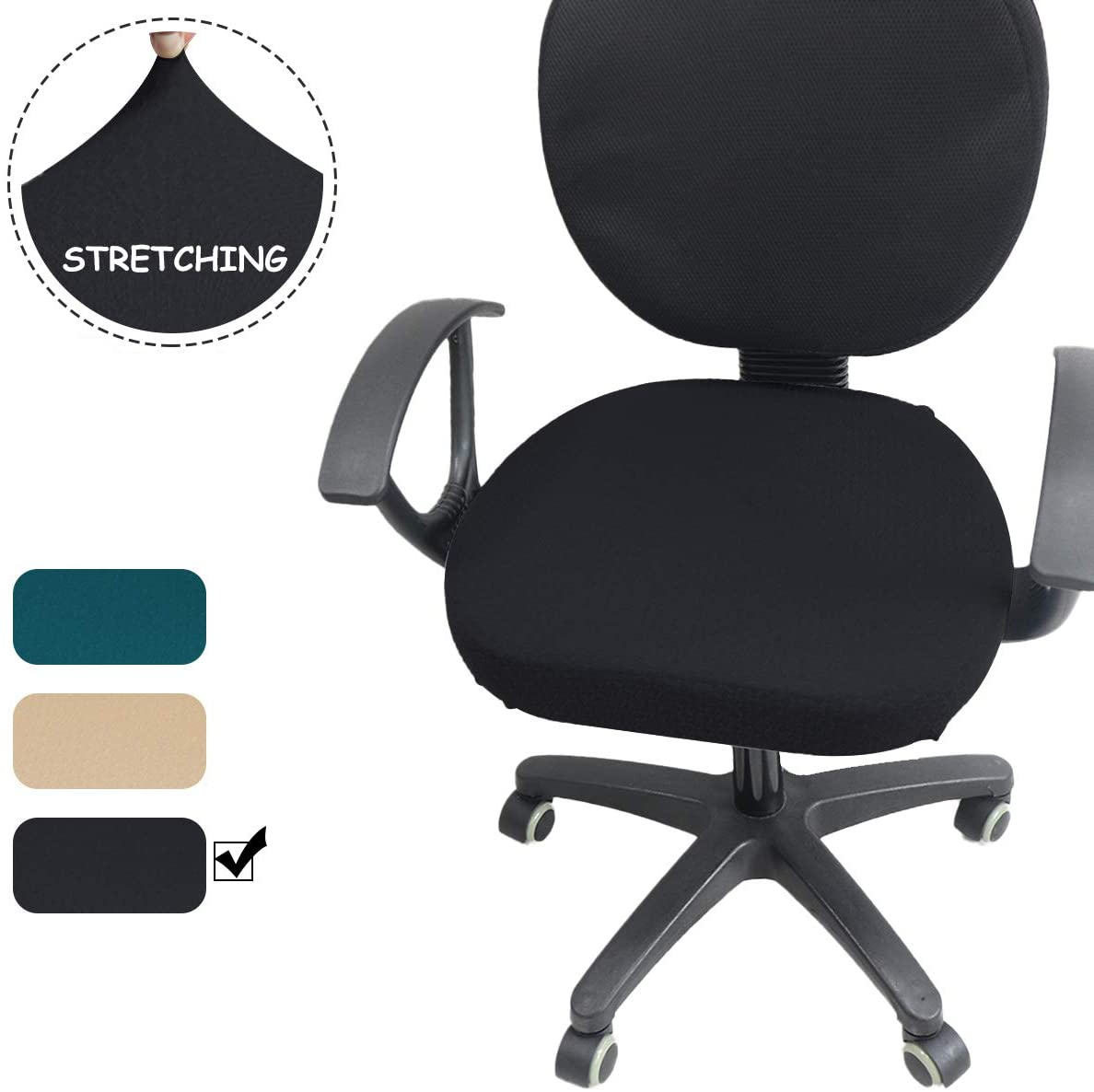 Chair Seat Cover, Small-Square-Grids Jacquard Soft Stretchable Dining Room Office Chair Slipcover Square Round Seat Cushion Cover, Tx-Black