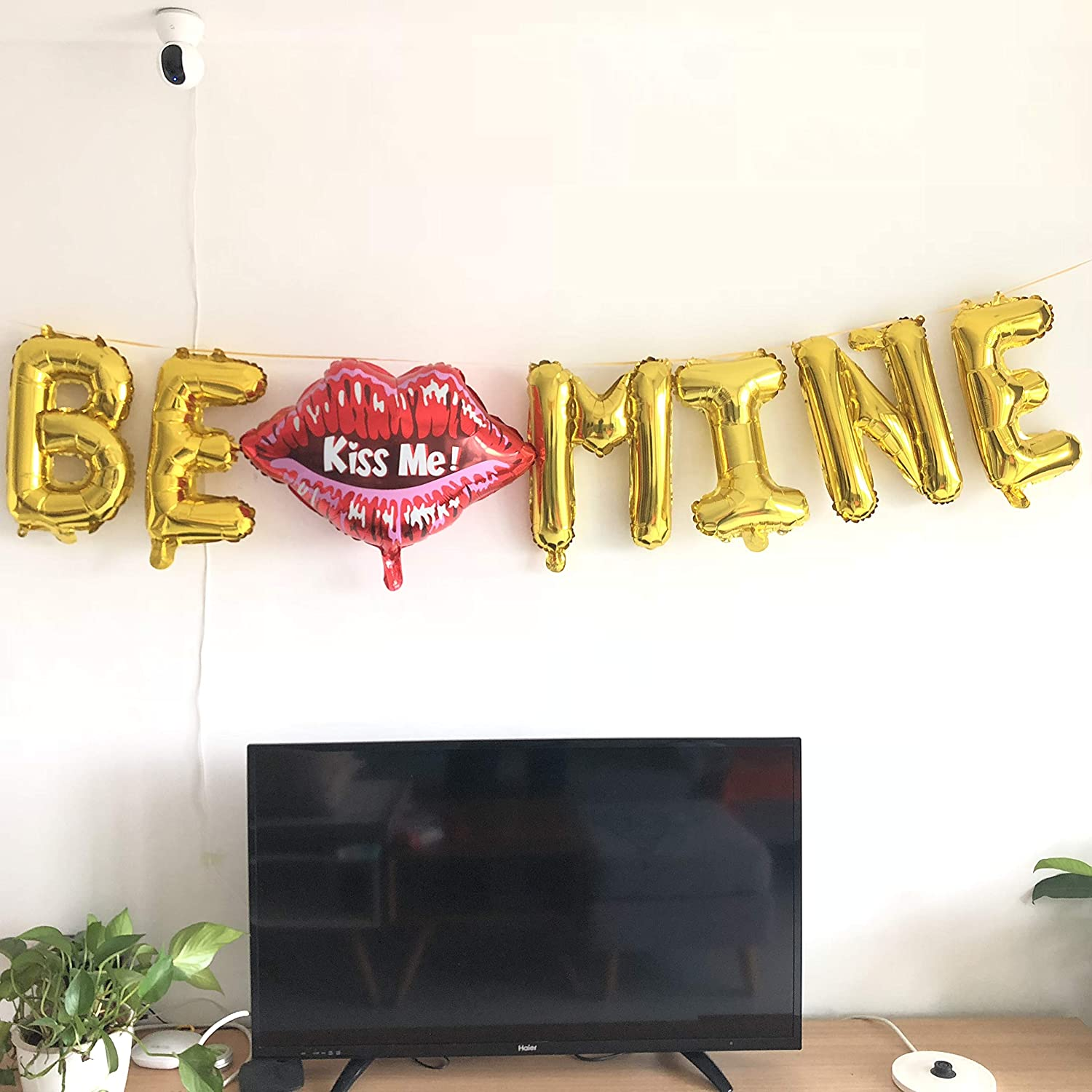 BE Mine Balloon, BE Mine Valentine Banner Decoration Kiss Me Lip Balloon for Galentines Day Wedding Bridal Shower Marry Me Bachelor Bubbly Mimosa Champagne Bar Party Supplies 9PCS Kit of Qinsly