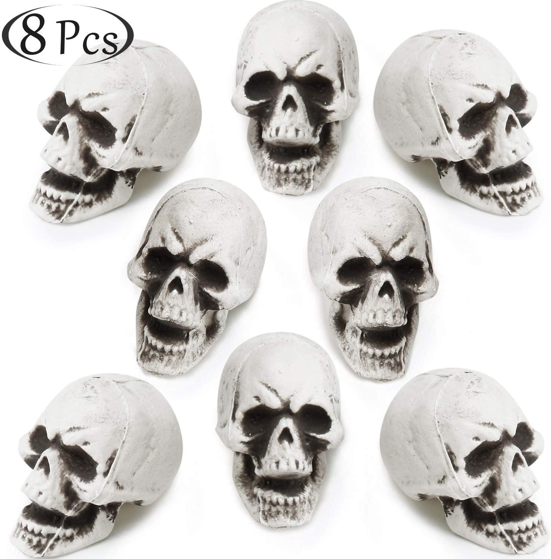 8 Pieces Halloween Skulls Realistic Looking Skulls Human Skeleton Head Skull for Halloween Bar Home Table Decoration (1.6 x 2 x 3.1 Inches)