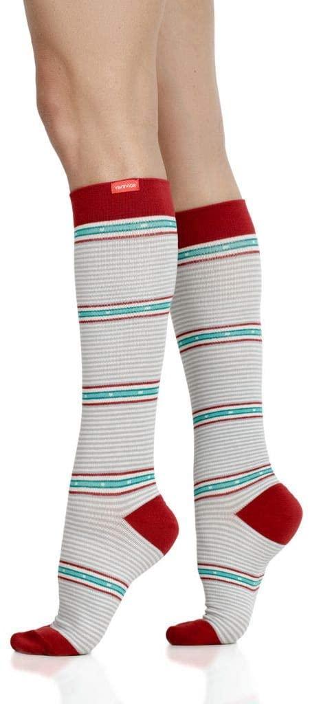VIM & VIGR Cotton 15-20 mmHg Compression Socks for Women & Men (Red & White Arcade Stripes, Medium/Large)