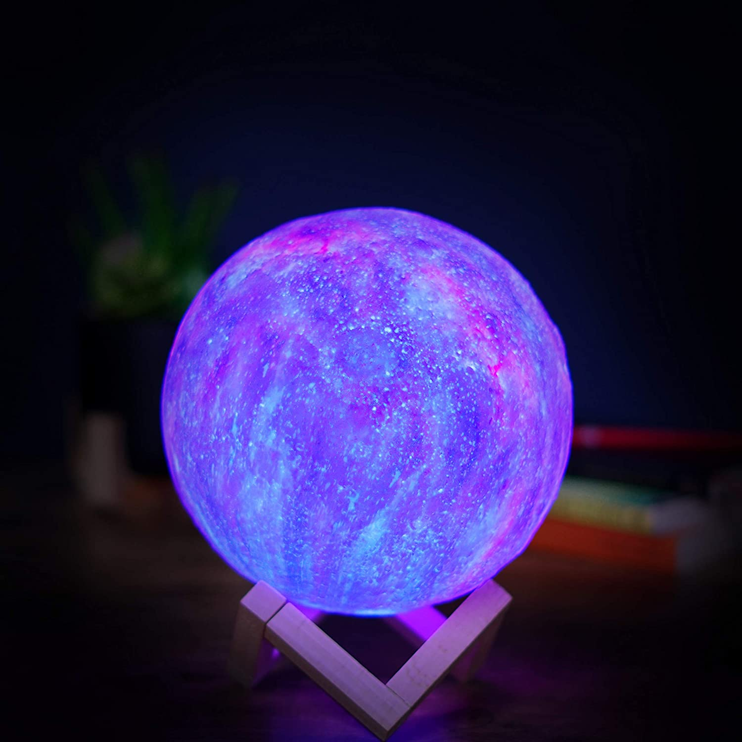 Space Galaxy Moon Lamp Lighting Night LED 3D Printing RGB Colors Remote Control Dimmable Touch Control Brightness USB Charging Rechargeable Home Decorative for Baby Kids Gift with Wooden Stand