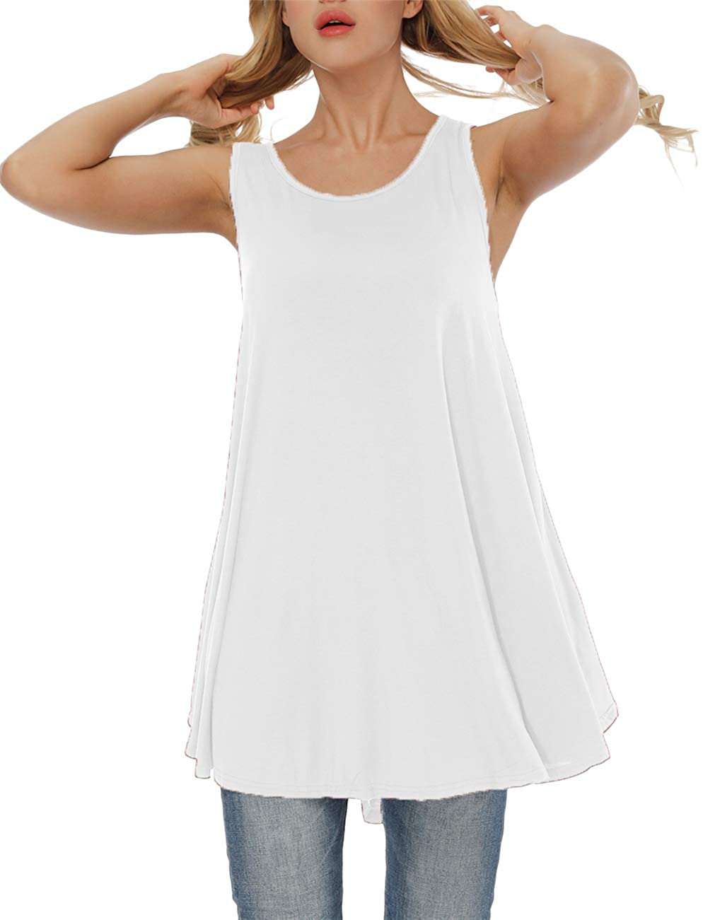 Heftxall Women's Plus Size Solid Sleeveless Tunic Round Neck Flowy Tank Tops Blouse Shirts