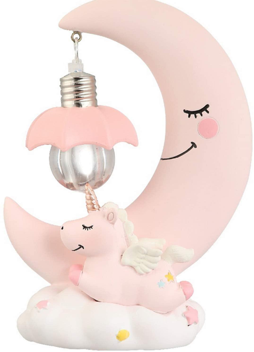Unicorn Moon Night Light,Fantasee Led Night Light,Romantic Bedroom Decor Night Lamp Baby Kids Toy Birthday Xmas Gift (Pink)