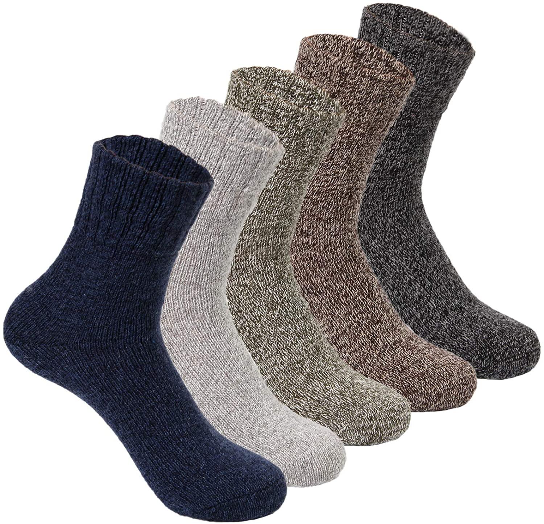 Yannik Mens Warm Soft Comfort Crew Winter Socks (Pack of 5)