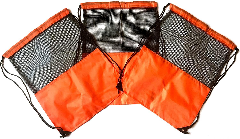 3 Pack ORANGE MESH Nylon Drawstring Backpacks Sackpack Tote Cinch Gym Bag - Variety of Colors! (Regular, Orange Mesh)