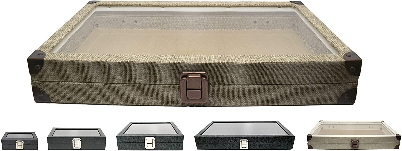 Novel Box Glass Top Burlap Dark Beige Metal Clasp Jewelry Display Case 14.75X8.25X2.1 + Custom NB Pouch