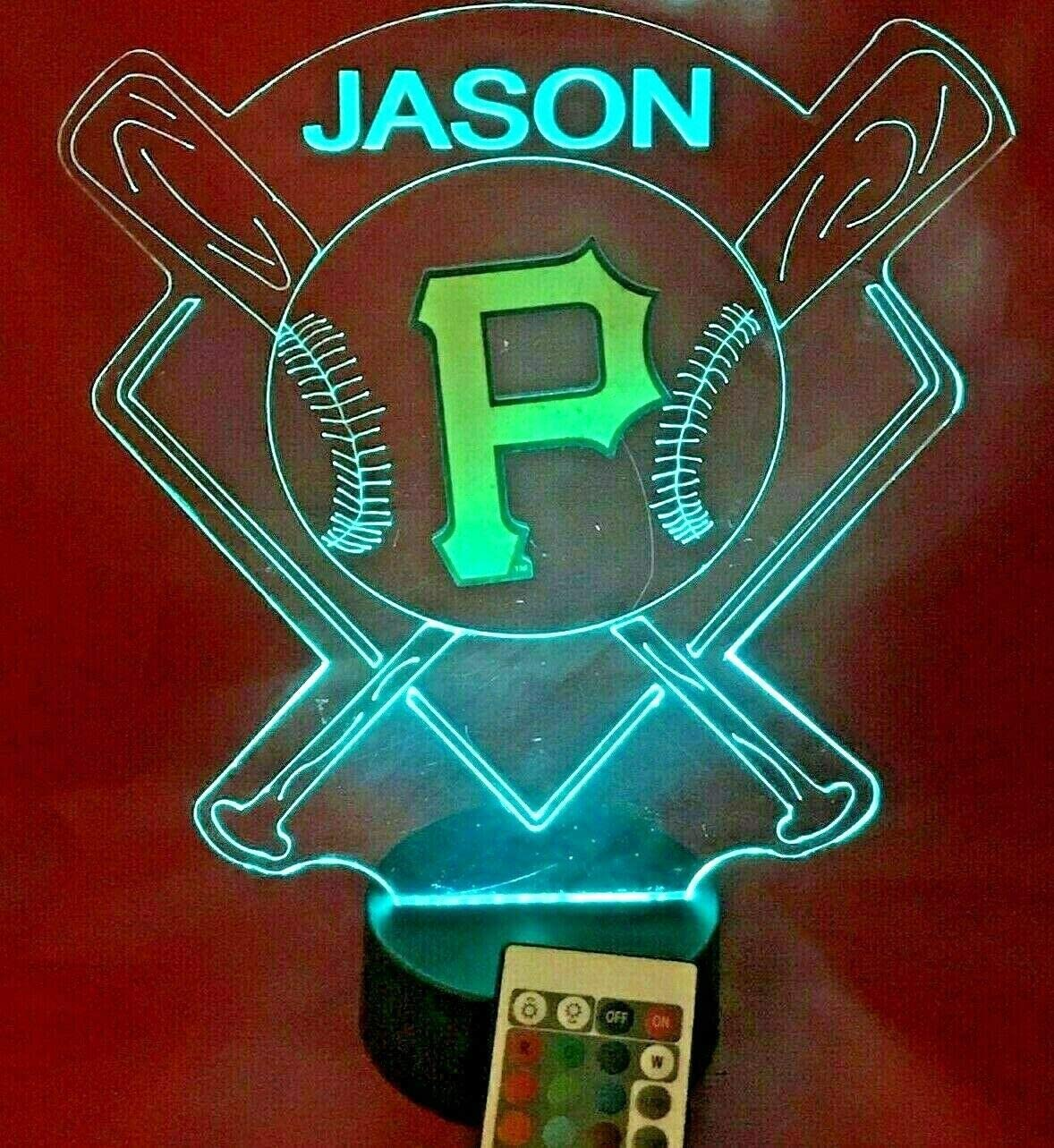 Baseball Night Light Up Lamp LED Lamp Personalized Handmade Stadium with Bats Free Personalization and Remote, Men Man Boys Girls Sports Gift, 16 Color Options, and Variations! (Balt Pirates)