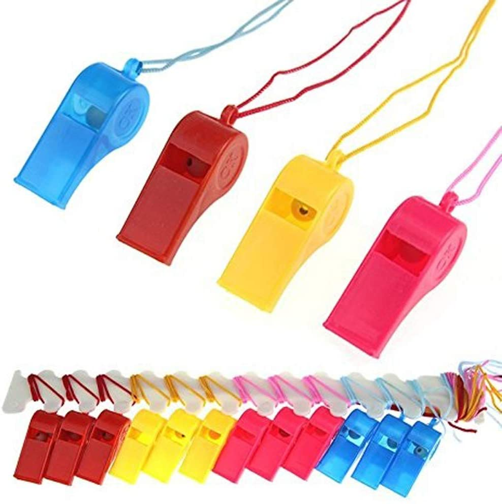 BeautyMood 24Pcs Neon Plastic Whistle Necklaces on Nylon Braided Cord by BeautyMoodTako