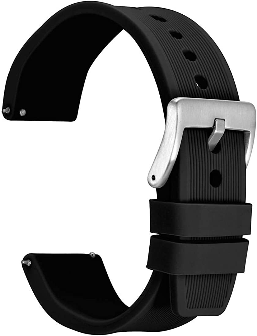 WOCCI Silicone Watch Band 18mm 20mm 22mm 24mm - Stripes Texture Replacement Rubber Strap Quick Release