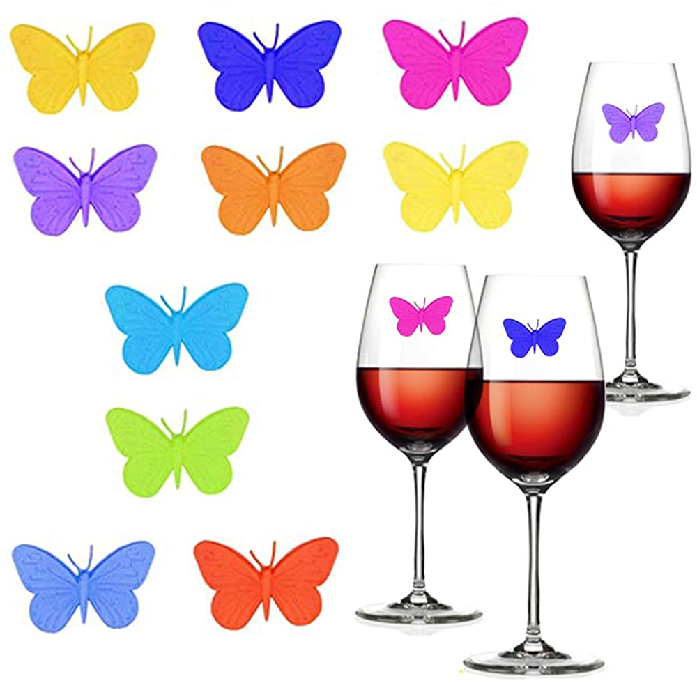 Ceqiny Wine Charm Tags Silicone Drink Glass Charms Glass Tags Wine Glass Markers Set of 10 Drink Markers with Suction Cup Wine Glass Label for Champagne Flutes Cocktails Butterfly Assorted