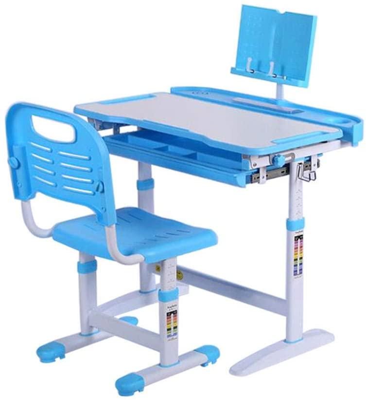 Kids Desk and Chair Set Writing Desktop Desk, School Home Table Children Desk, Kid Boy Girl Homework Tables Height Adjustable Ergonomic Study Desks