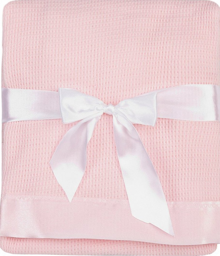 Thermal Waffle Weave Baby Blanket with Satin Nylon Trim (pink)