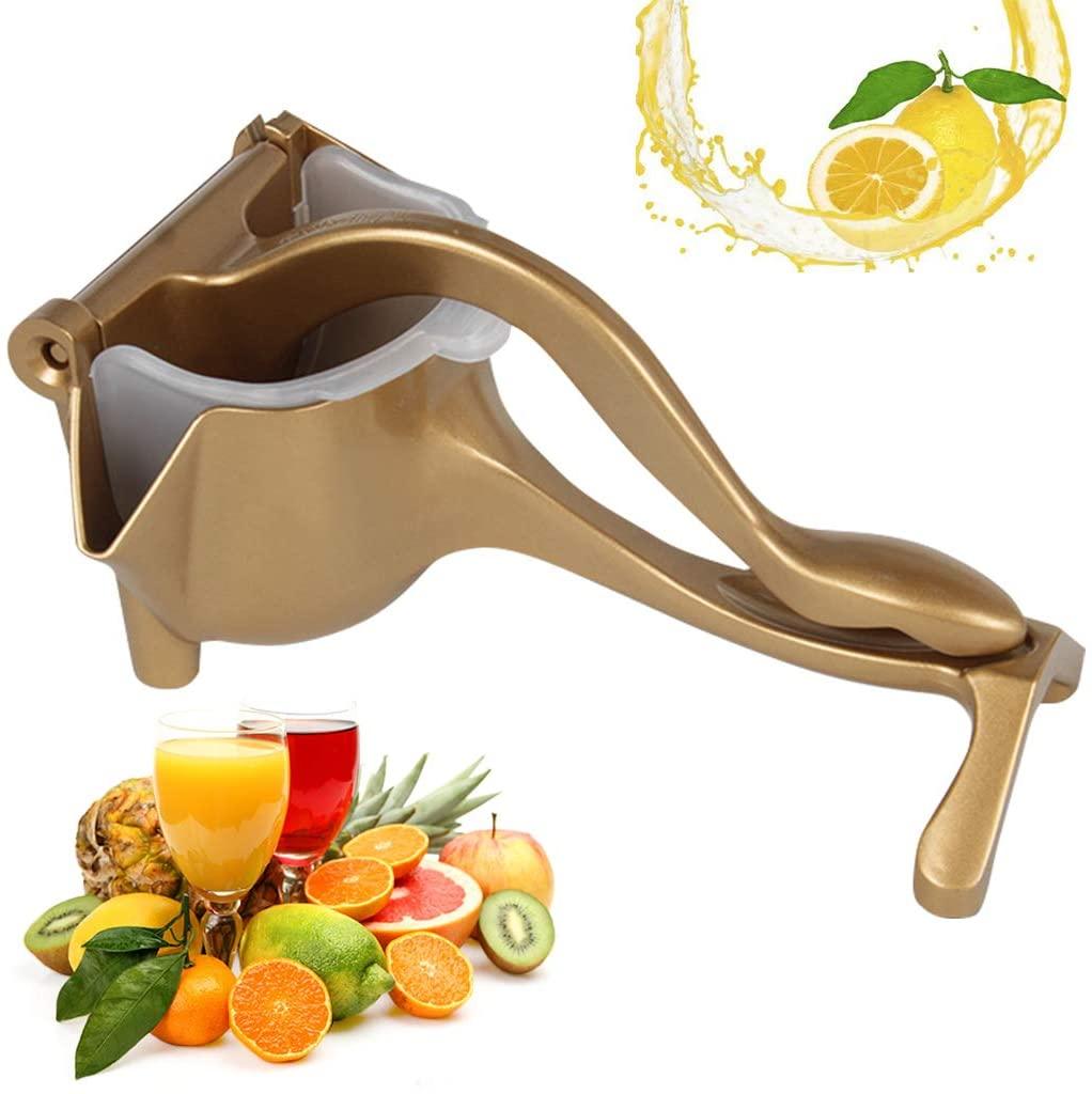 Manual Juicer Lemon Squeezer - Premium Quality Aluminum Alloy Heavy Duty Hand Press, Orange Fruit Juicer, Detachable Citrus Extractor Tool (Gold)