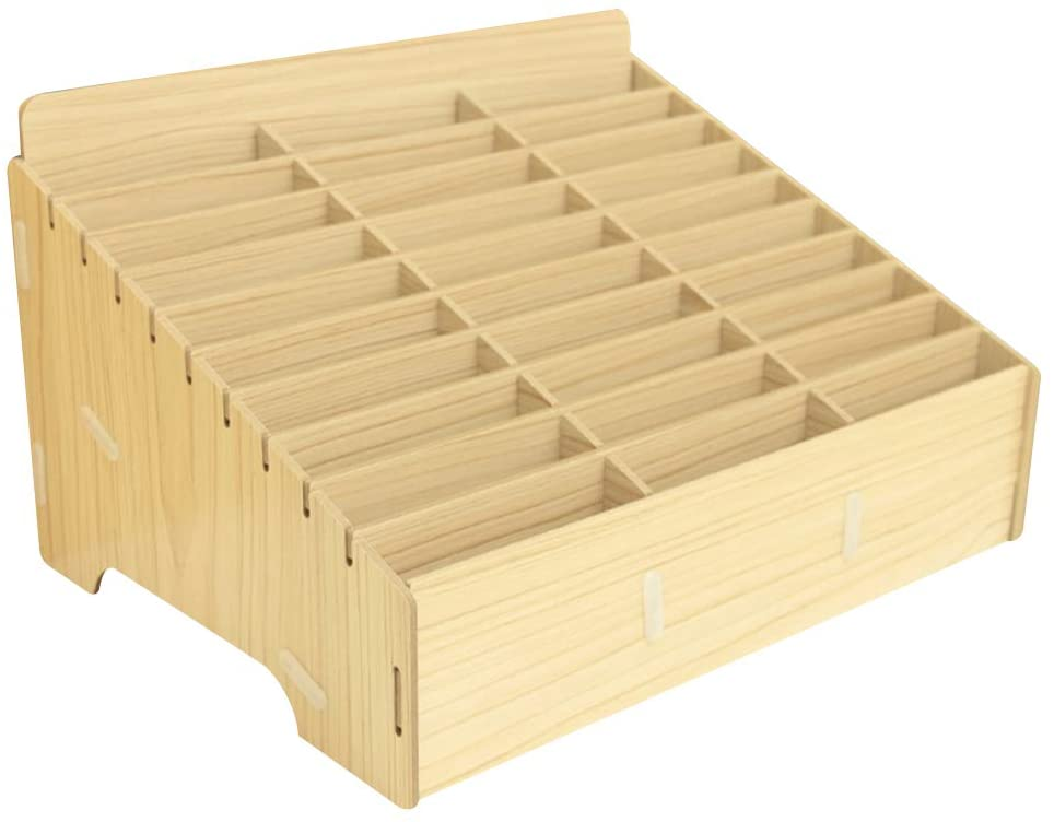 Ozzptuu Multifunctional Wooden Storage Box 30 Storage Compartments for Desk Supplies Organizer, Store Cell phone Holder