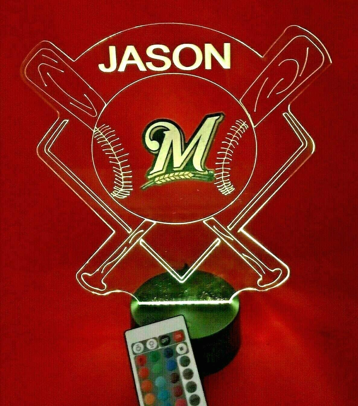 Baseball Night Light Up Lamp LED Lamp Personalized Handmade Stadium with Bats Free Personalization and Remote, Men Man Boys Girls Sports Gift, 16 Color Options, and Variations! (MKE Brewers)
