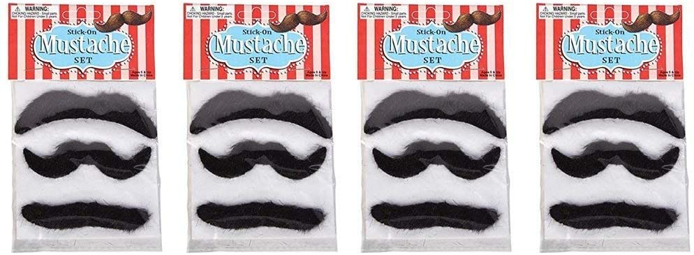 Rhode Island Novelty 3.5 Inch Mustaches 4 Packs of 3 12 Mustaches