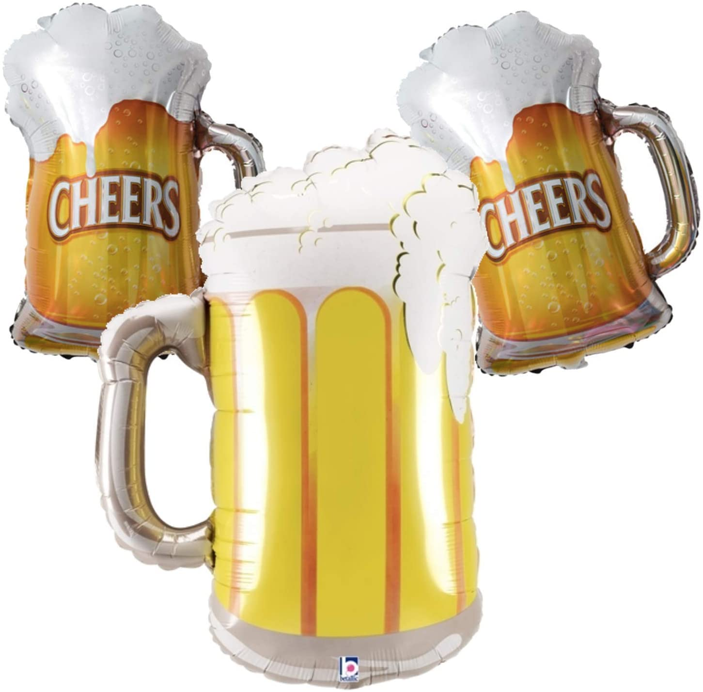 Beer Mug Party Balloon Decorations - Set of 3 Pint Glass Beers for A Beer and Alcohol Theme