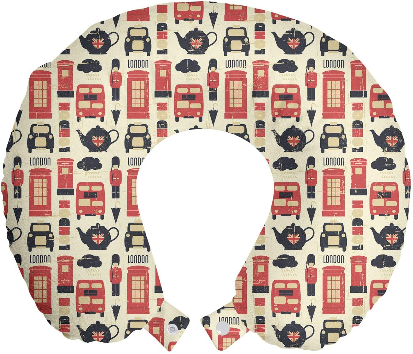 Ambesonne London Travel Pillow Neck Rest, Grunge Looking Vintage Traditional Theme Graphic Design Pattern, Memory Foam Traveling Accessory for Airplane and Car, 12