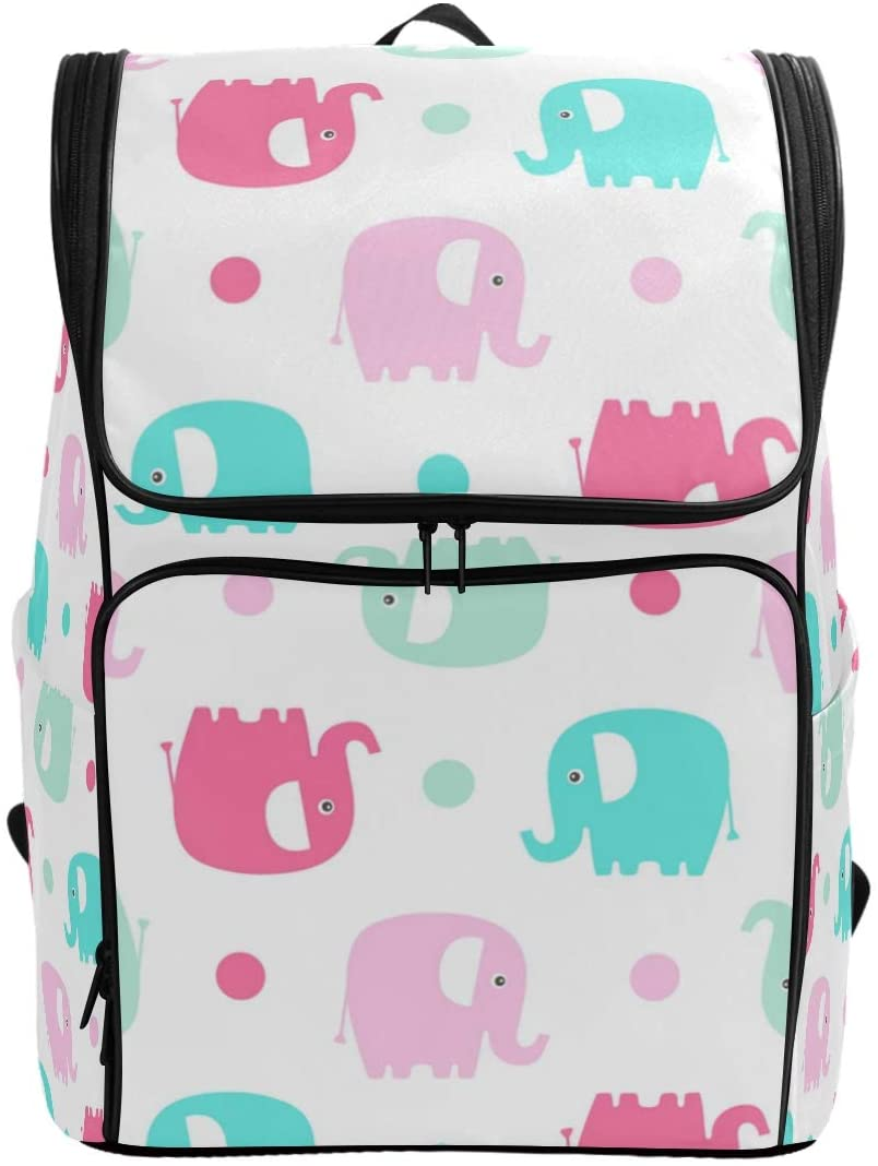 Cute Flat Elephant Backpack Waterproof Polyester Campus Backpack Lightweight Travel Daypack Large Capacity