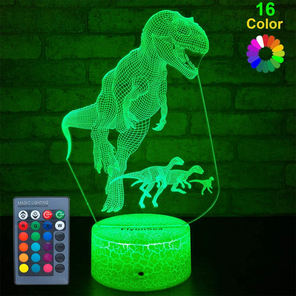 FlyonSea Big Dinosaur Gifts, Dinosaur Light Dinosaur Party Supplies 16 Color Changing Kids Night Light with Touch and Remote Control, Kids Dinosaur Toys Lamp Birthday for Kids Boys