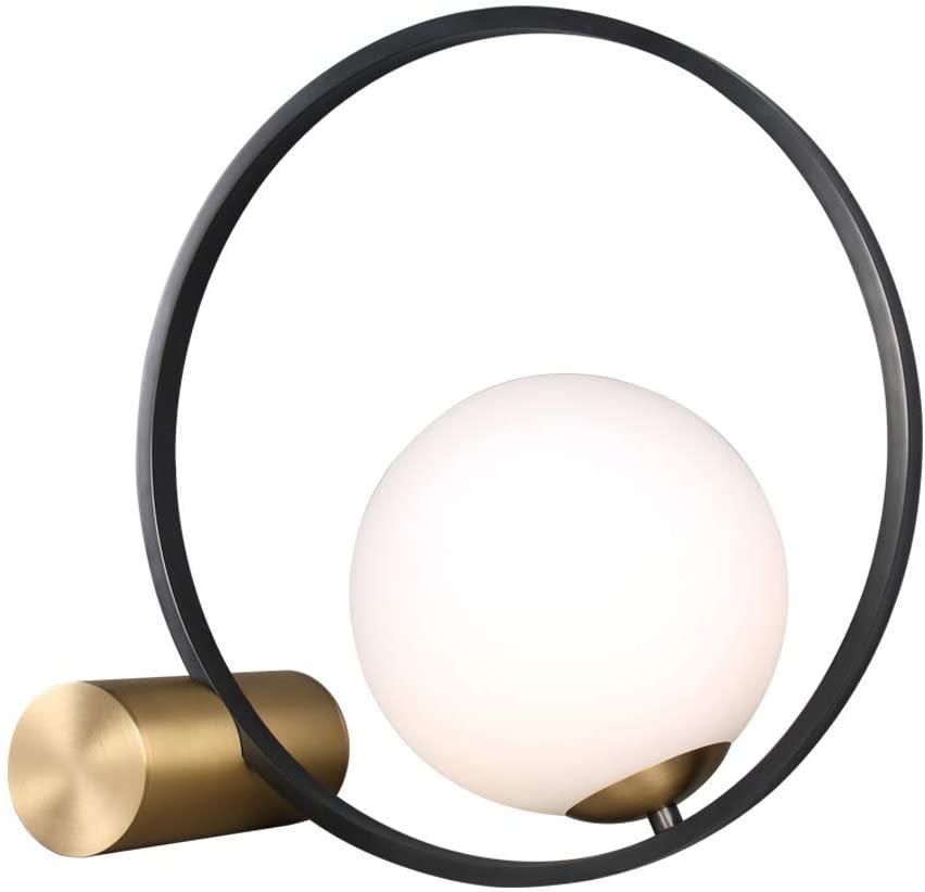 Modo Lighting Modern Glass Ball Table Lamp Golden Base Mid Century Desk Lamp for Bedroom Bedside Decor Light