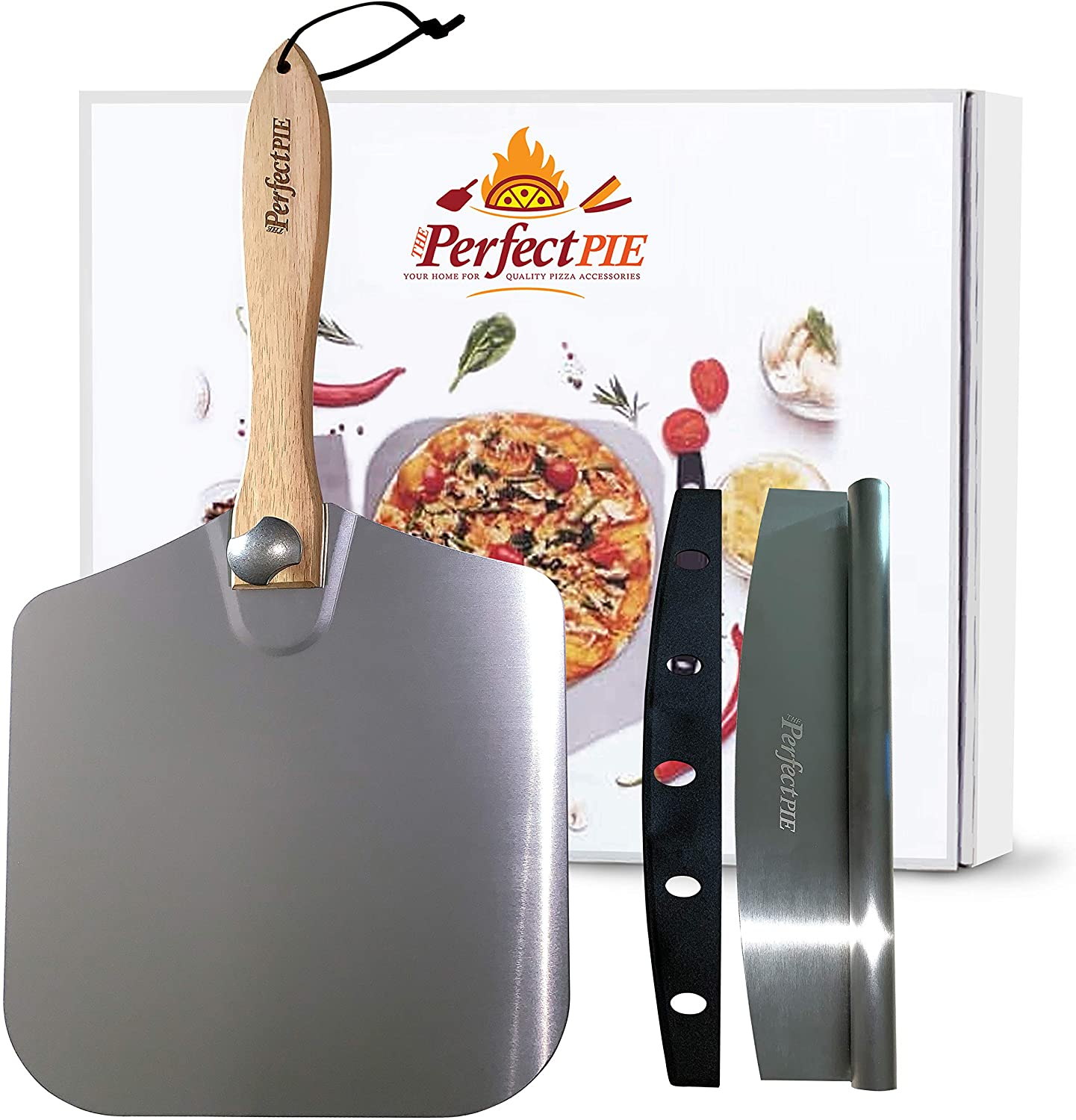 """The Perfect Pie Pizza Peel Aluminum Metal Pizza Paddle 12"""" x 14"""" with Foldable Wooden Handle and 14"""" Rocker Cutter with Cover - Easy Storage Pizza Spatula for Baking and Slicing Homemade Pizza Bread"""