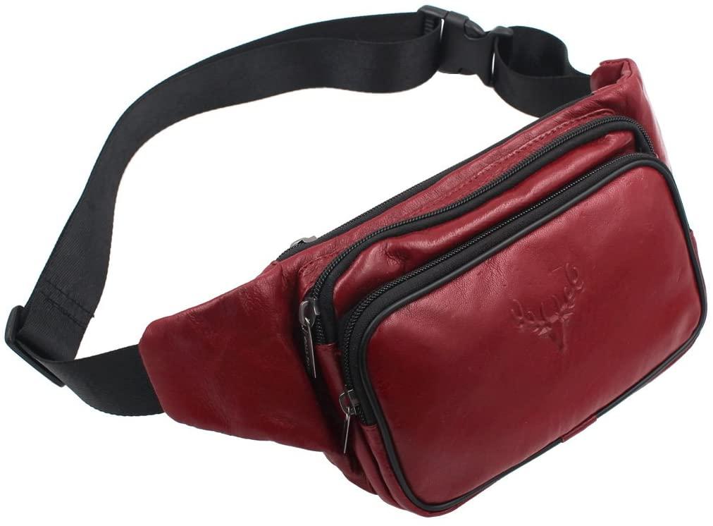 Vidlea Triple Pocket Sheepskin Leather fanny pack waist bag slim shoulder bag Hip Purse Adjustable Belt strap Casual Pouch Outdoor Day bag (YPB7 Red)