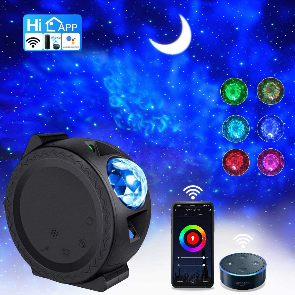 Smart WiFi Star Projector, App Controlled 3 in 1 Ocean Wave Light Moon Starry Sky Night Light Works with Alexa Google Home Touch &Voice Control LED Nebula Cloud for Kids Adults Bedroom Decoration
