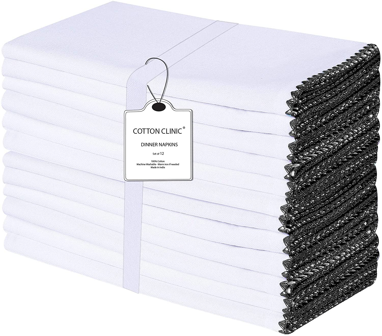 Cotton Clinic 12 Pack Blanket Stitch Farmhouse Vintage 20x20 Cloth Dinner Napkins, 100% Cotton Soft, Durable and Washable Cocktail Napkins, Wedding Dinner Napkins, Black White