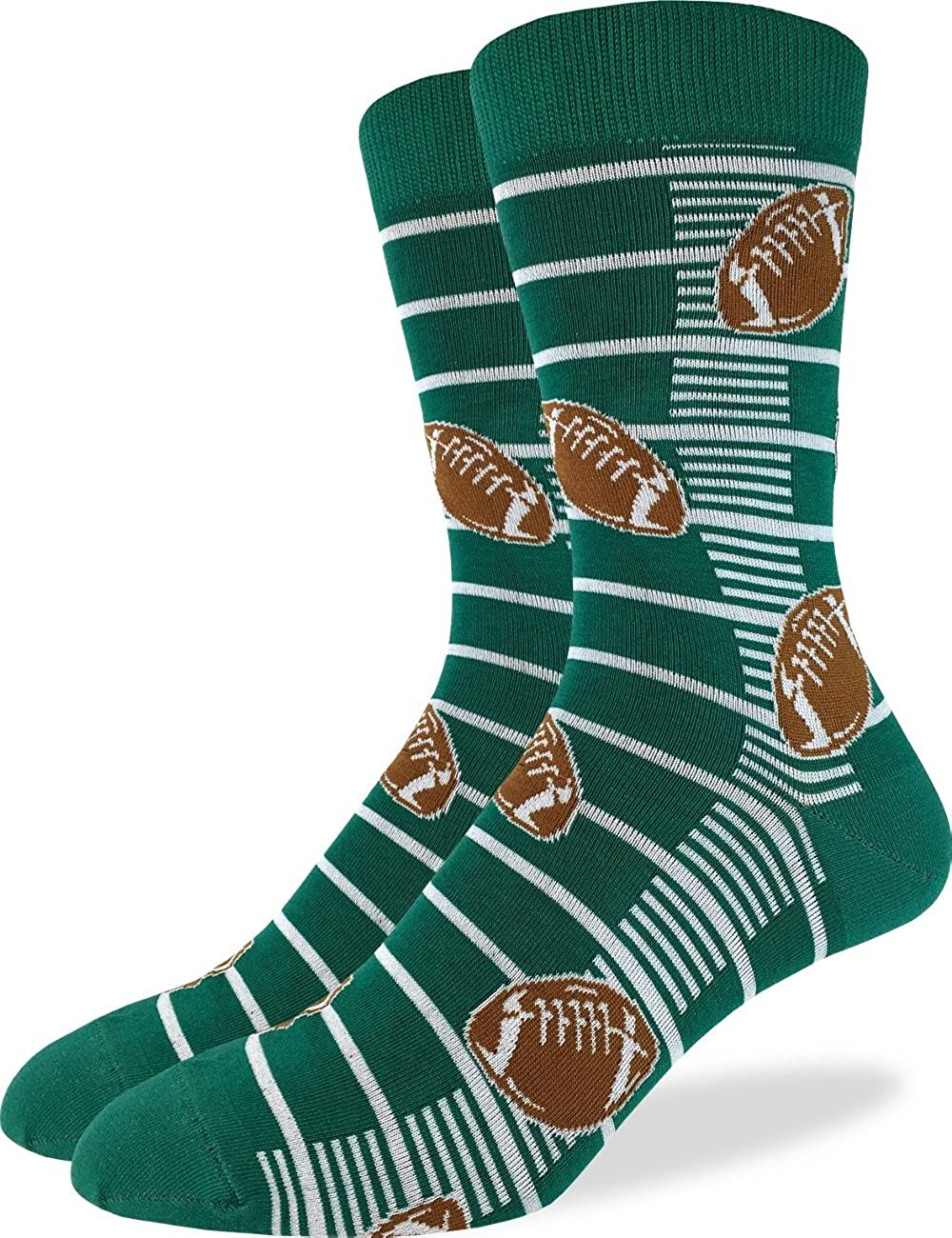 Good Luck Sock Men's Football Crew Socks - Green, Shoe Size 7-12