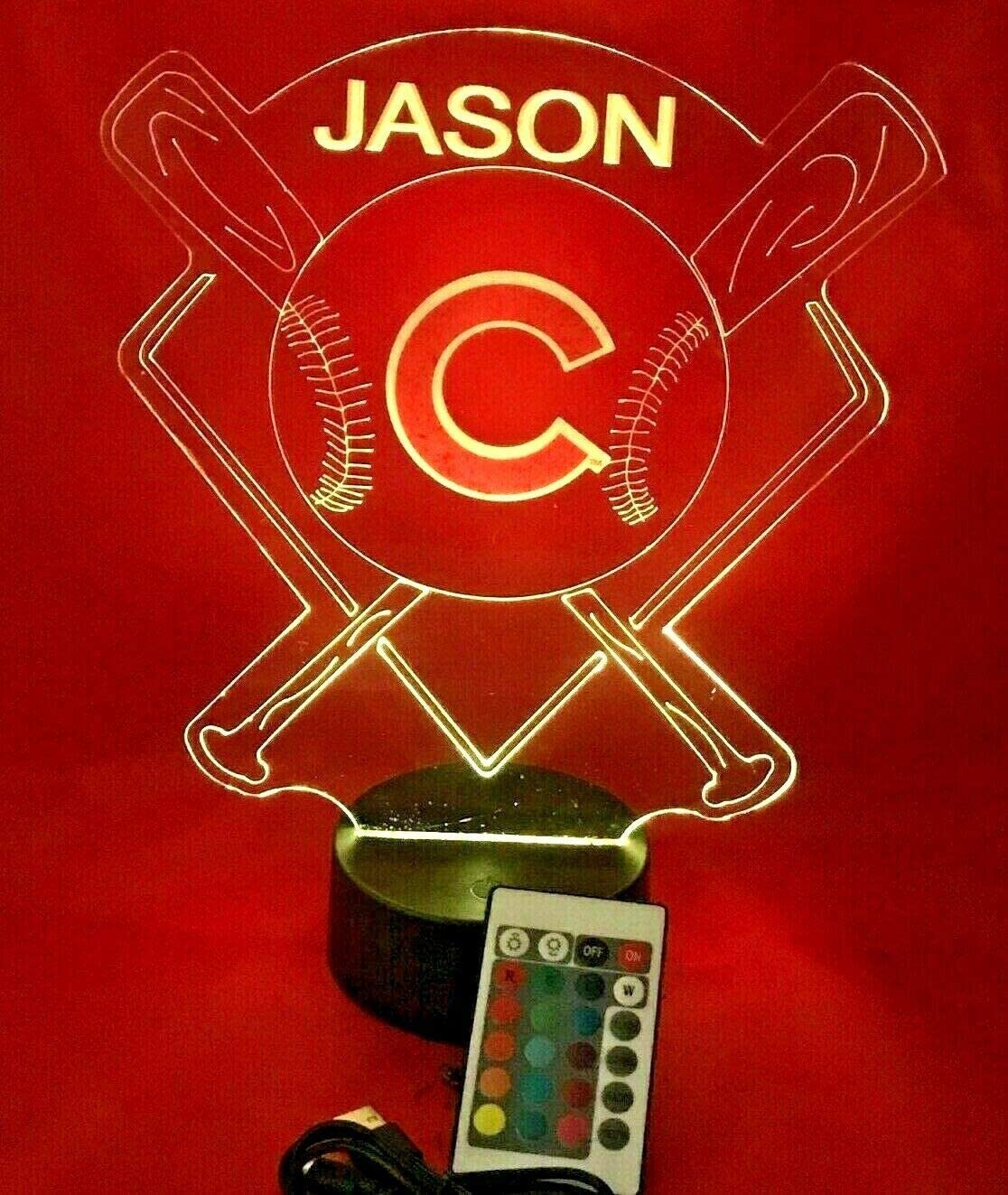 Baseball Night Light Up Lamp LED Lamp Personalized Handmade Stadium with Bats Free Personalization and Remote, Men Man Boys Girls Sports Gift, 16 Color Options, and Variations! (Cubs)