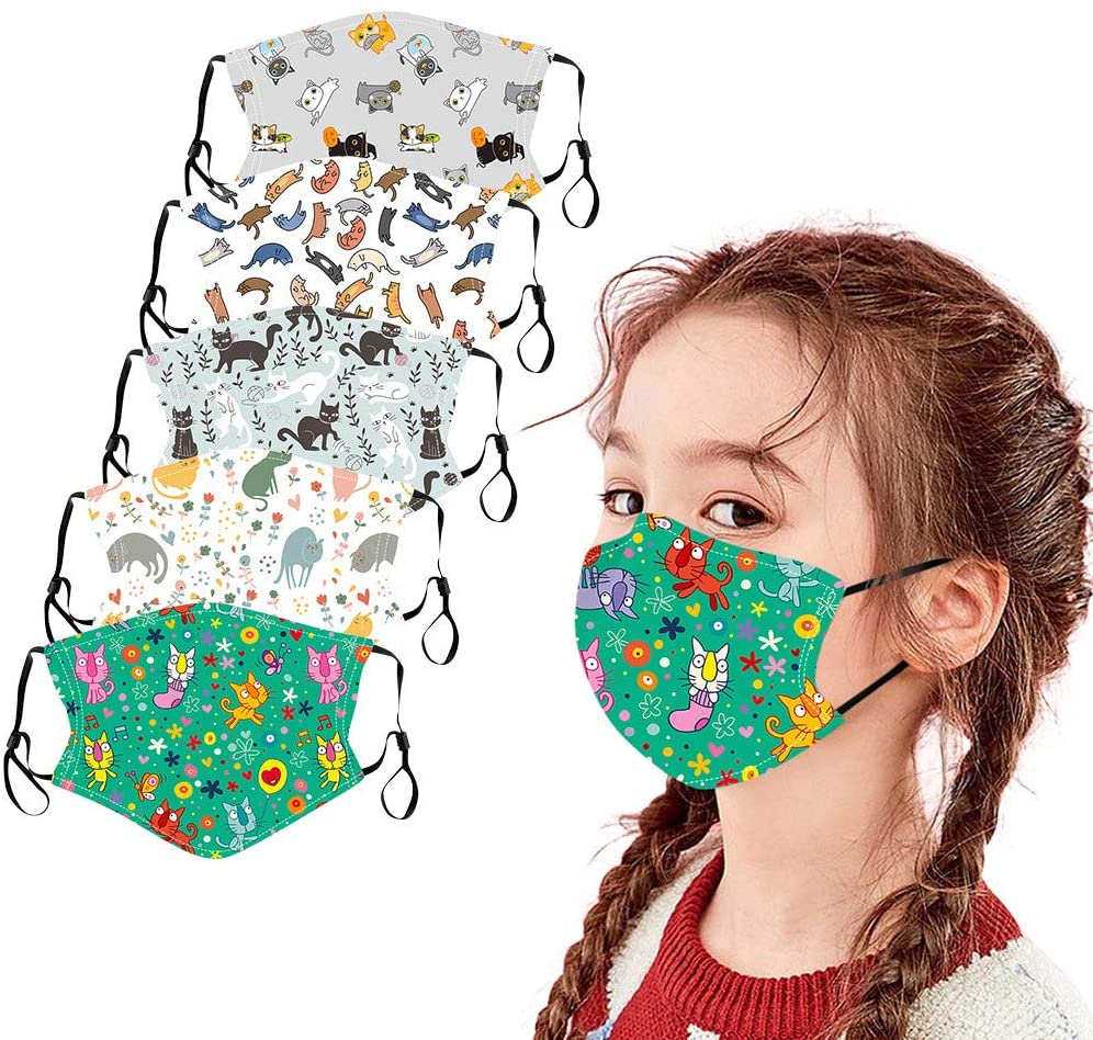 Gogoty 5pcs Children Cute Colorful Pattern Reusable Washable Face Scarf Bandanas Breathable for Kids Outdoor Back to School