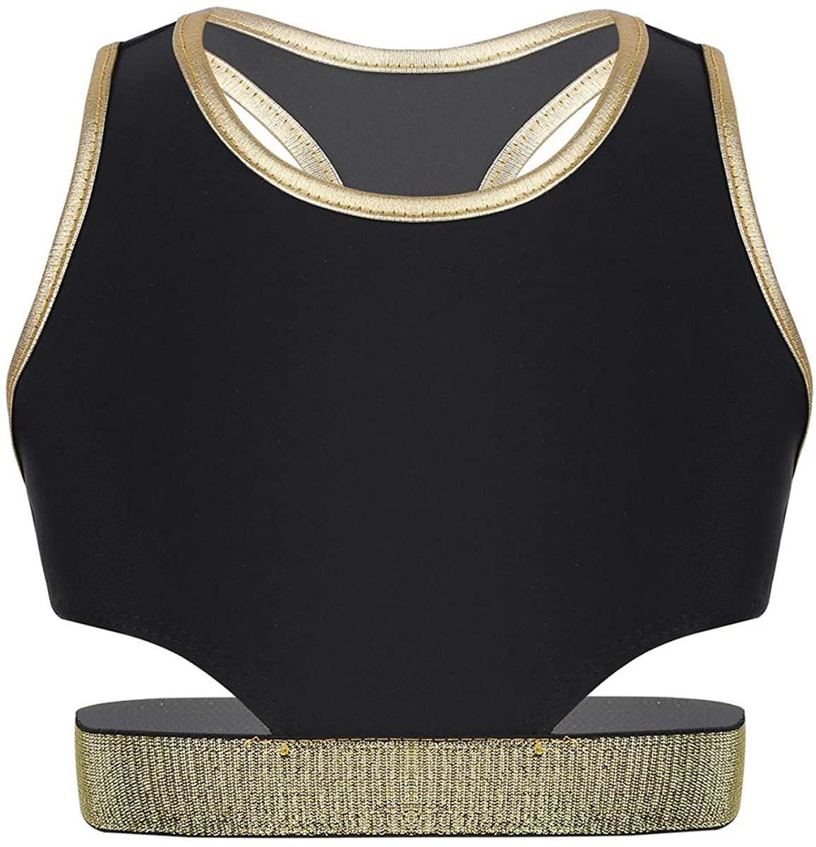 QinCiao Girls Racer Back Sports Bra Athletic Crop Top Yoga Gym Fitness Training Vest Tank Top T Shirt