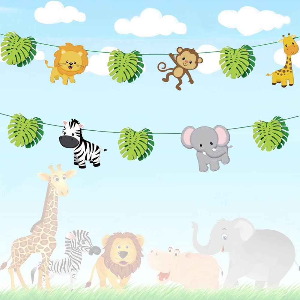 Jiahai 19pcs Jungle Animals Leaves Banner Home Decoration for Woodland Garland Forest Theme Birthday Festival Party
