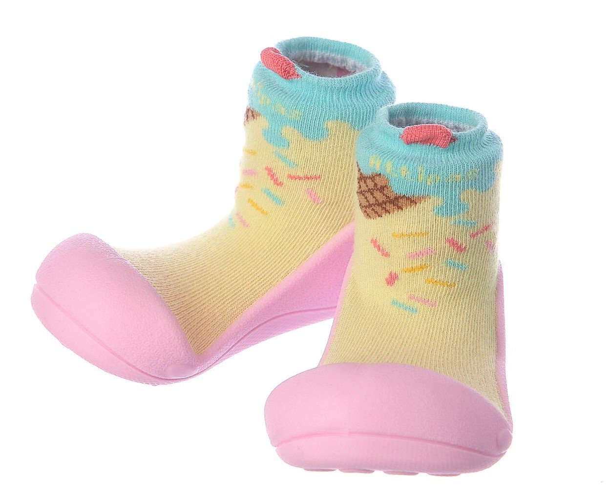 Attipas Best First Walker Shoes Baby Cotton Socks Shoes Non Toxic Safe Great Baby Registry Gifts (US Toddler 6.5, Ice Cream Pink)