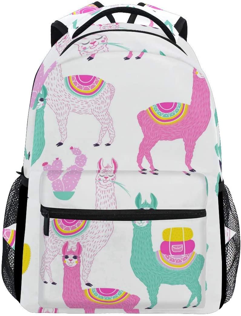 Fashion Water Resistant Laptop Backpack,Pink Alpaca Cartoon Shoulder Schoolbag Computer Bag Bookbagsfor High School/College Student,Travel Bag,14 Inch Laptop Sleeve