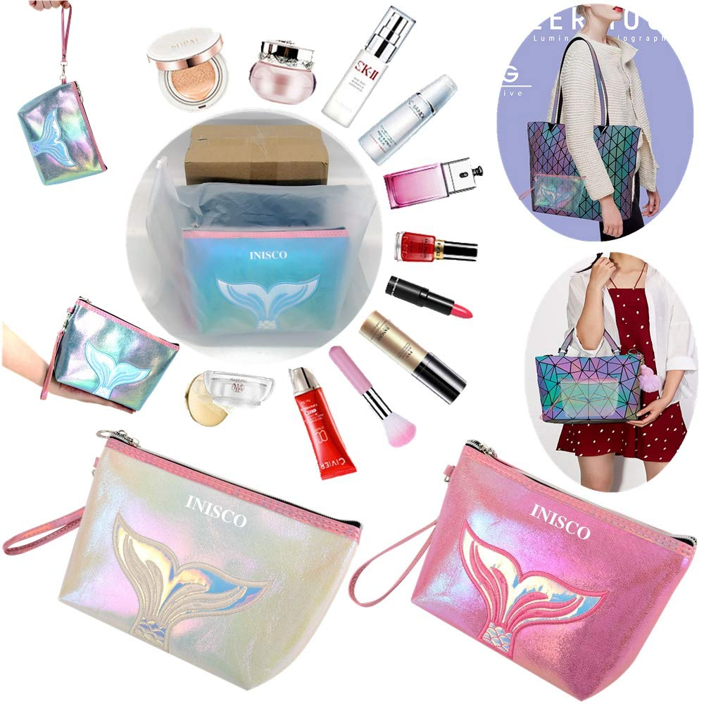 3 Piece Set Small Cosmetic Bag for Purse,Small Makeup Bags for Women,Small Cosmetic Pouch for Purse,Travel Bags for Toiletries Waterproof Colorful Mermaid Tail (Light Blue, Rose Red, White)