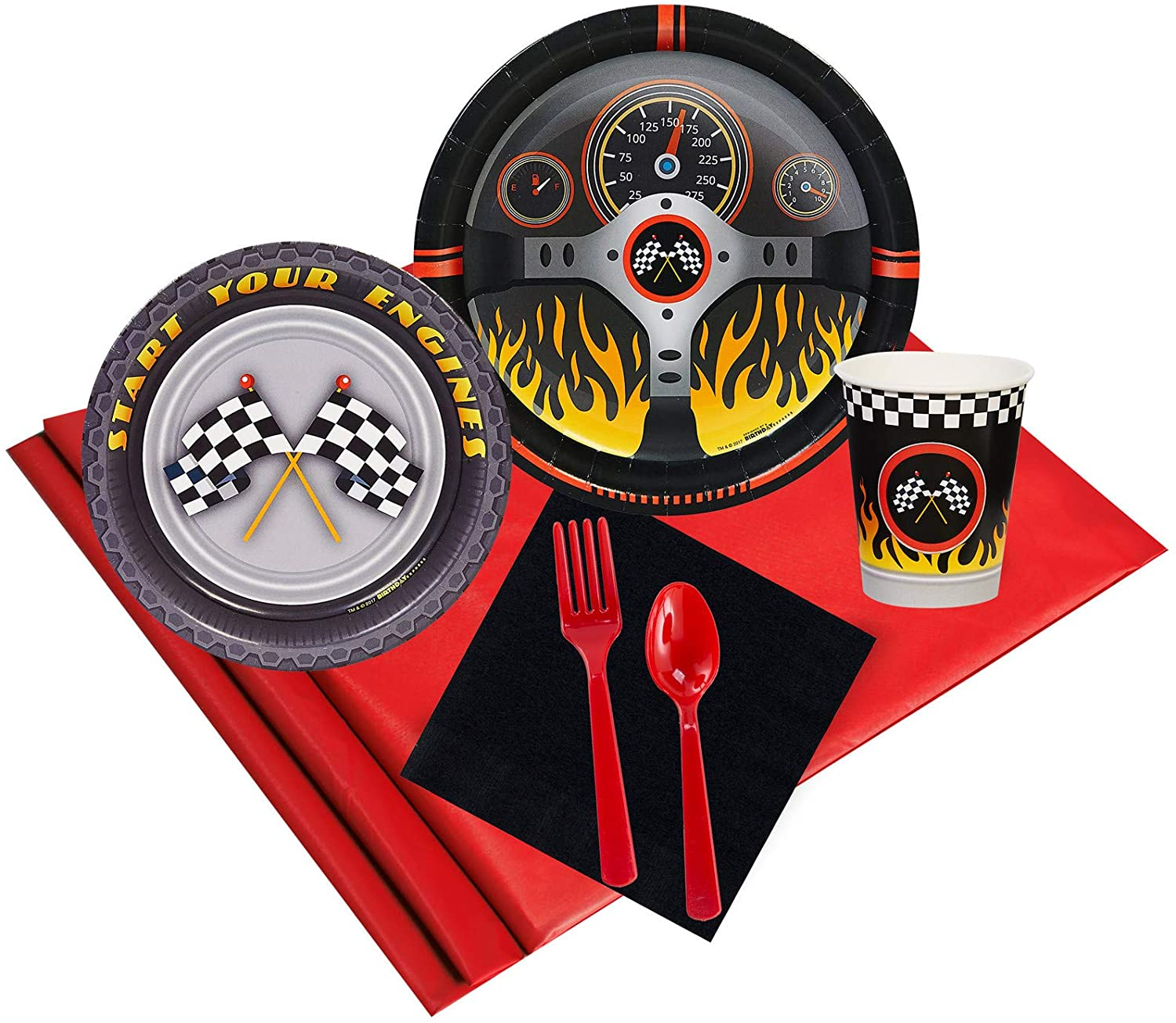 BirthdayExpress Racecar Racing Party Supplies - Party Pack for 16 Guests