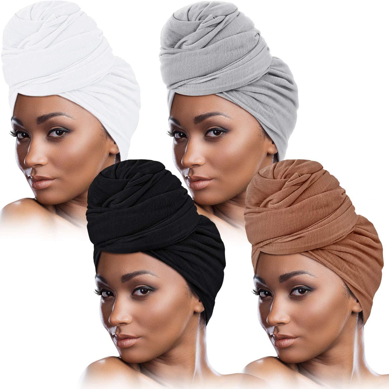 4 Pieces Head Wrap Scarf Stretch Turban for Women Long Hair Scarf Wrap Soft Head Band Tie African Head Wraps