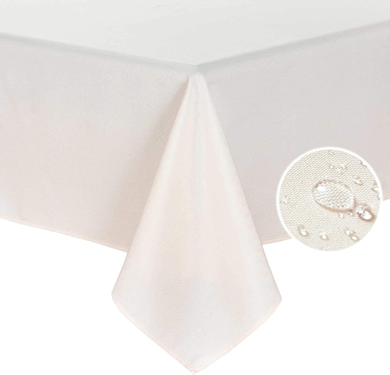 HOMCHIC Faux Linen Rectangle Table Cloth - Washable, Spillproof, Easy Care, Wrinkle Resistant, Thick Indoor and Outdoor Tablecloth, Premium Polyester Fabric-60x104 Inch-Oblong/Rectangular-Peach Pink